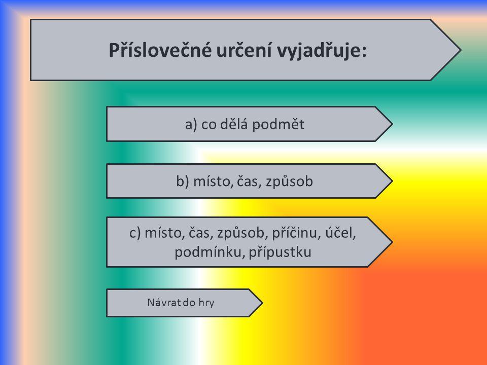 Příslovečné určení vyjadřuje: a) co dělá podmět c) místo, čas, způsob, příčinu, účel, podmínku, přípustku b) místo, čas, způsob Návrat do hry