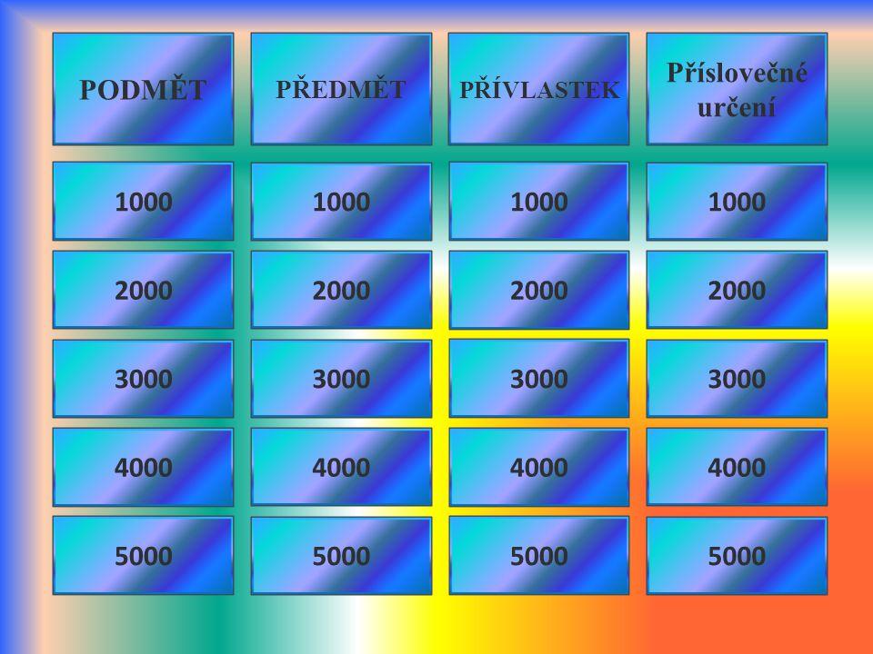 PODMĚT PŘEDMĚT PŘÍVLASTEK Příslovečné určení 1000 3000 4000 5000 2000