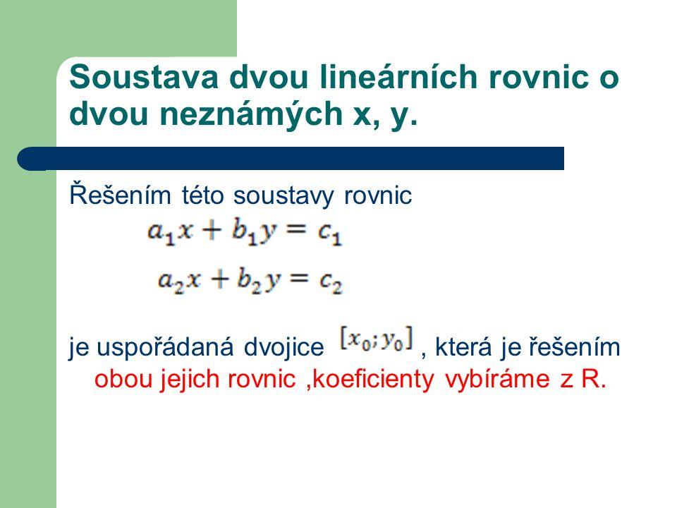 Soustava dvou lineárních rovnic o dvou neznámých x, y. Řešením této soustavy rovnic je uspořádaná dvojice, která je řešením obou jejich rovnic,koefici