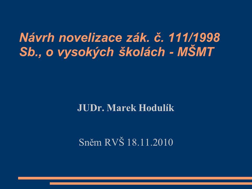 Návrh novelizace zák. č. 111/1998 Sb., o vysokých školách - MŠMT JUDr. Marek Hodulík Sněm RVŠ 18.11.2010