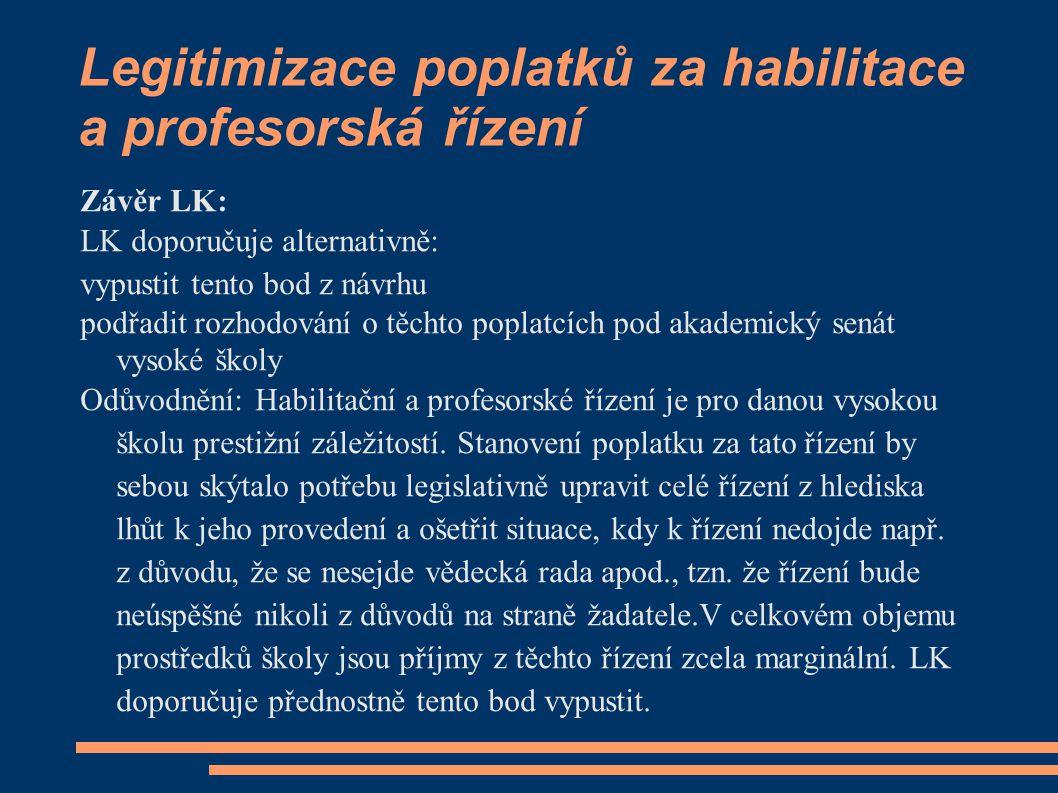 Legitimizace poplatků za habilitace a profesorská řízení Závěr LK: LK doporučuje alternativně: vypustit tento bod z návrhu podřadit rozhodování o těch