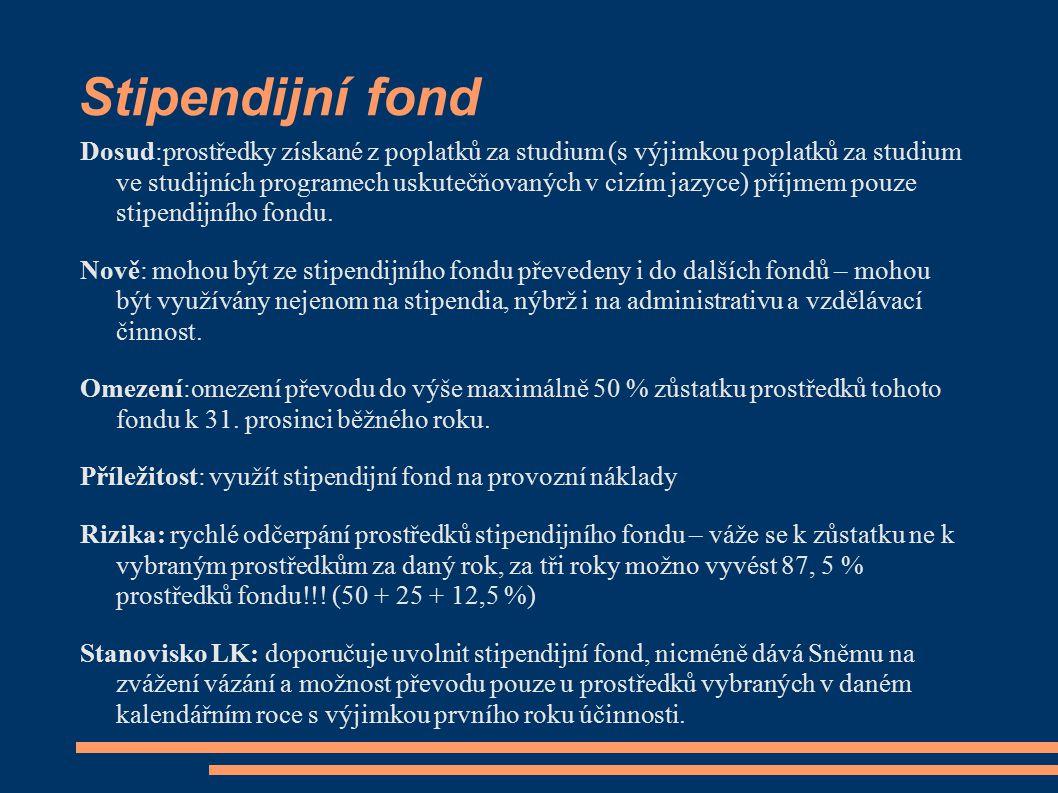 Stipendijní fond Dosud:prostředky získané z poplatků za studium (s výjimkou poplatků za studium ve studijních programech uskutečňovaných v cizím jazyc
