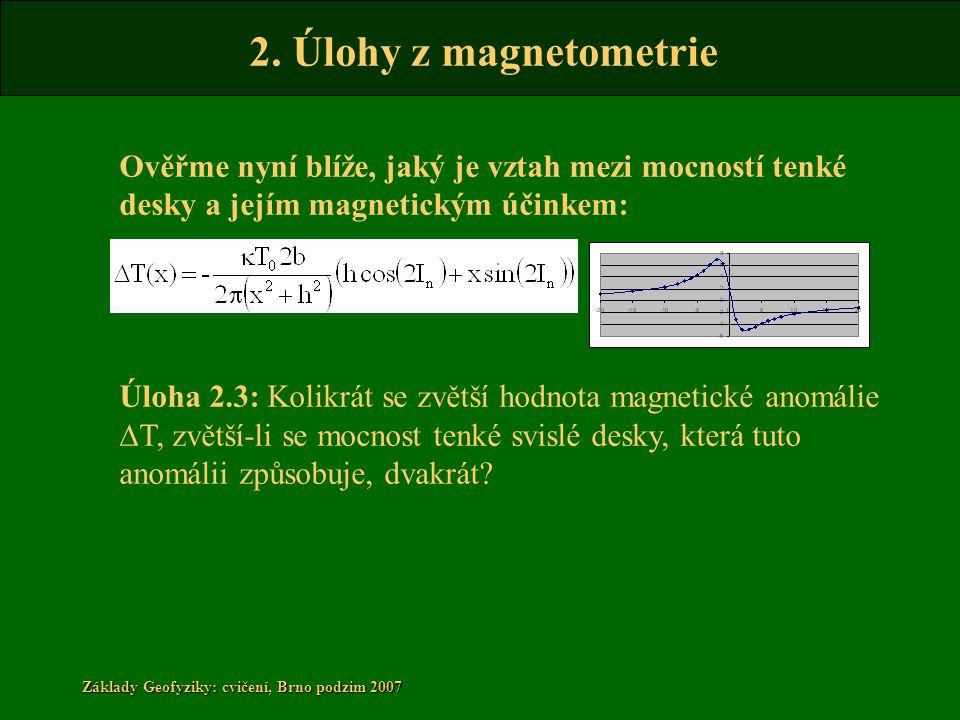 2. Úlohy z magnetometrie Základy Geofyziky: cvičení, Brno podzim 2007 Ověřme nyní blíže, jaký je vztah mezi mocností tenké desky a jejím magnetickým ú