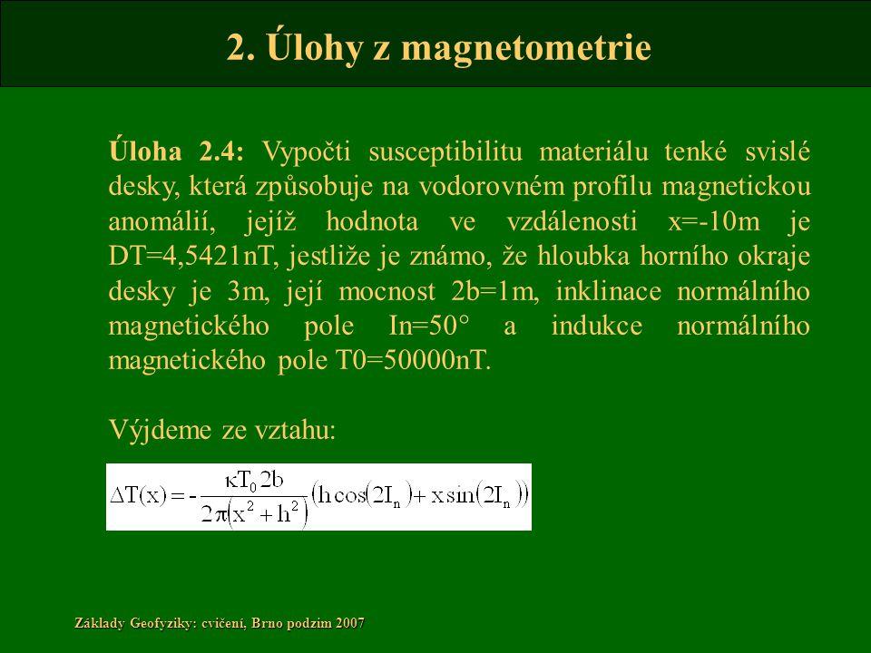 2. Úlohy z magnetometrie Základy Geofyziky: cvičení, Brno podzim 2007 Úloha 2.4: Vypočti susceptibilitu materiálu tenké svislé desky, která způsobuje