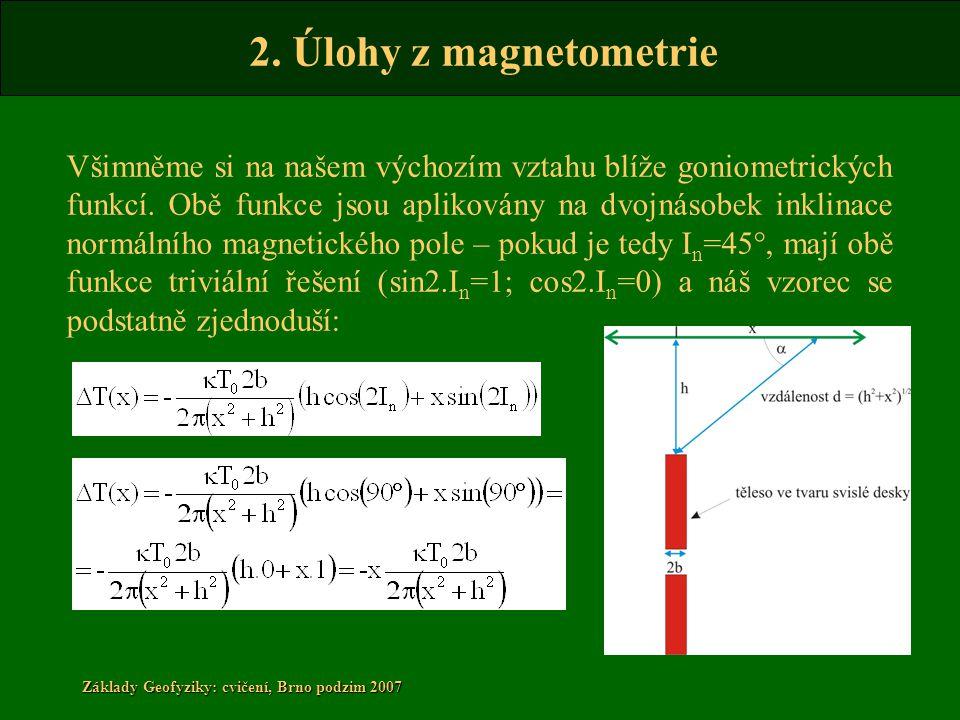 2. Úlohy z magnetometrie Základy Geofyziky: cvičení, Brno podzim 2007 Všimněme si na našem výchozím vztahu blíže goniometrických funkcí. Obě funkce js