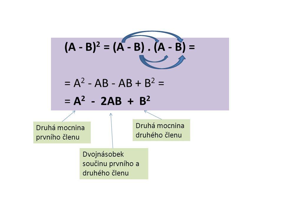 (A - B) 2 = (A - B). (A - B) = = A 2 - AB - AB + B 2 = = A 2 - 2AB + B 2 Druhá mocnina prvního členu Druhá mocnina druhého členu Dvojnásobek součinu p