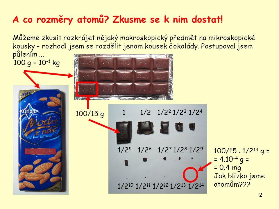2 Můžeme zkusit rozkrájet nějaký makroskopický předmět na mikroskopické kousky – rozhodl jsem se rozdělit jenom kousek čokolády.