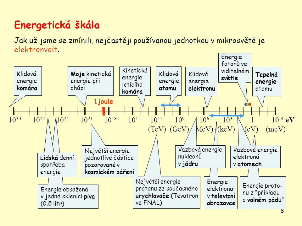 8 Energetická škála Jak už jsme se zmínili, nejčastěji používanou jednotkou v mikrosvětě je elektronvolt.