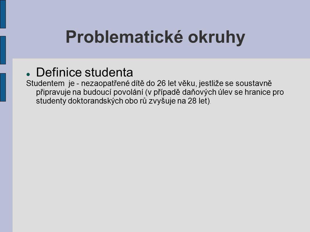 Problematické okruhy Definice studenta Studentem je - nezaopatřené dítě do 26 let věku, jestliže se soustavně připravuje na budoucí povolání (v případě daňových úlev se hranice pro studenty doktorandských obo rů zvyšuje na 28 let).
