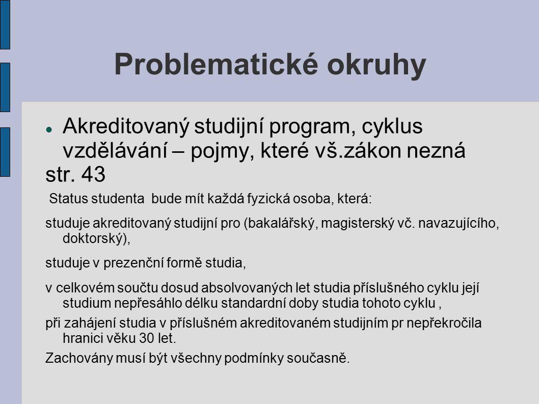 Problematické okruhy Akreditovaný studijní program, cyklus vzdělávání – pojmy, které vš.zákon nezná str.
