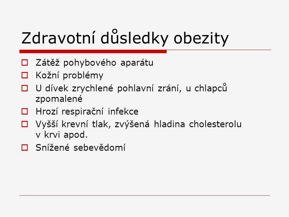 Zdravotní důsledky obezity  Zátěž pohybového aparátu  Kožní problémy  U dívek zrychlené pohlavní zrání, u chlapců zpomalené  Hrozí respirační infekce  Vyšší krevní tlak, zvýšená hladina cholesterolu v krvi apod.
