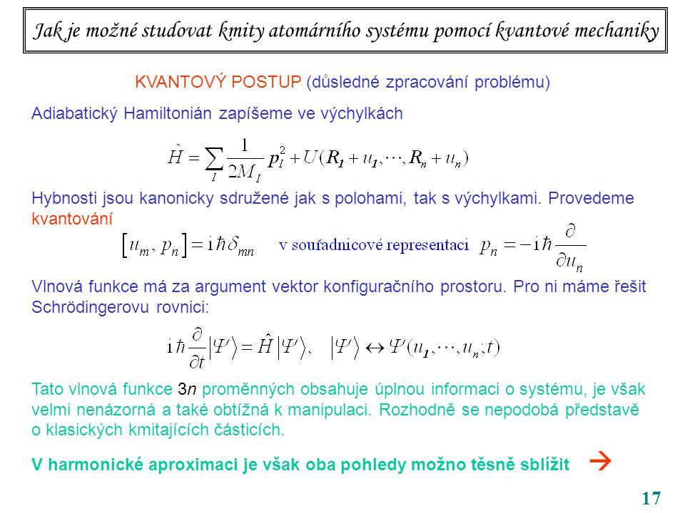 17 KVANTOVÝ POSTUP (důsledné zpracování problému) Adiabatický Hamiltonián zapíšeme ve výchylkách Hybnosti jsou kanonicky sdružené jak s polohami, tak s výchylkami.