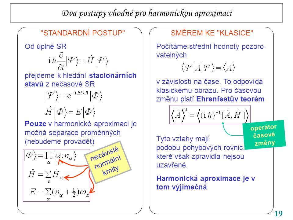 19 Dva postupy vhodné pro harmonickou aproximaci STANDARDNÍ POSTUP Od úplné SR přejdeme k hledání stacionárních stavů z nečasové SR Pouze v harmonické aproximaci je možná separace proměnných (nebudeme provádět) nezávislé normální kmity SMĚREM KE KLASICE Počítáme střední hodnoty pozoro- vatelných v závislosti na čase.