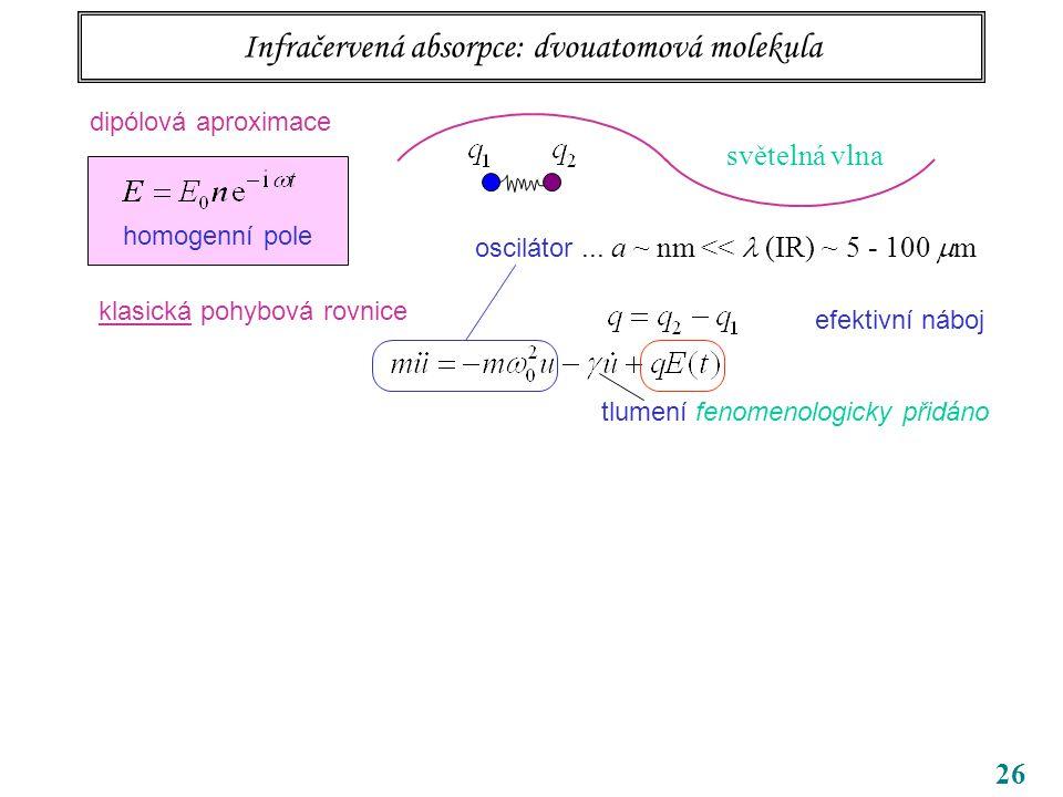 26 tlumení fenomenologicky přidáno Infračervená absorpce: dvouatomová molekula oscilátor...