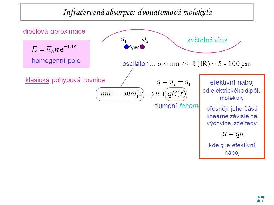 27 tlumení fenomenologicky přidáno od elektrického dipólu molekuly přesněji: jeho části lineárně závislé na výchylce, zde tedy kde q je efektivní náboj Infračervená absorpce: dvouatomová molekula oscilátor...
