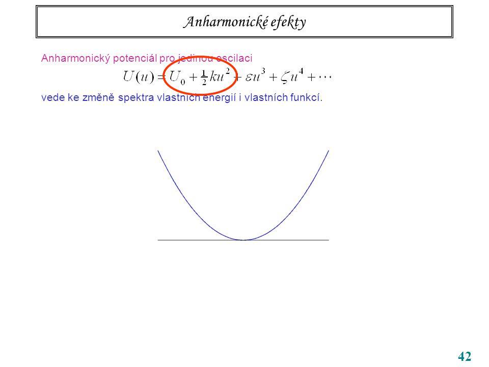 42 Anharmonické efekty Anharmonický potenciál pro jedinou oscilaci vede ke změně spektra vlastních energií i vlastních funkcí.