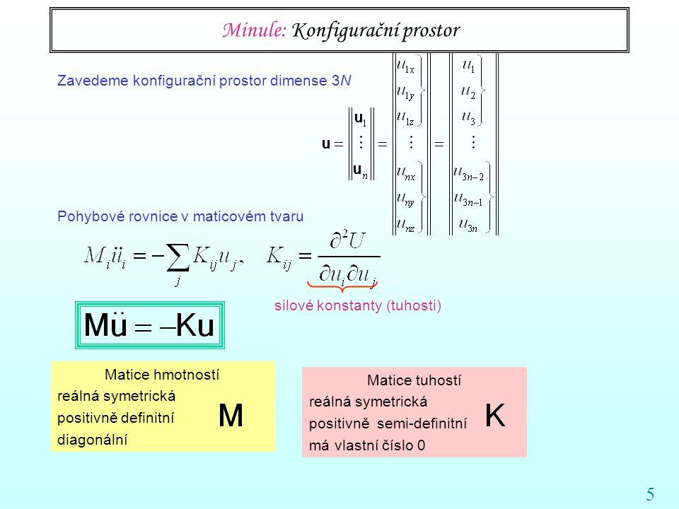 5 Minule: Konfigurační prostor silové konstanty (tuhosti) Zavedeme konfigurační prostor dimense 3N Pohybové rovnice v maticovém tvaru Matice hmotností reálná symetrická positivně definitní diagonální Matice tuhostí reálná symetrická positivně semi-definitní má vlastní číslo 0