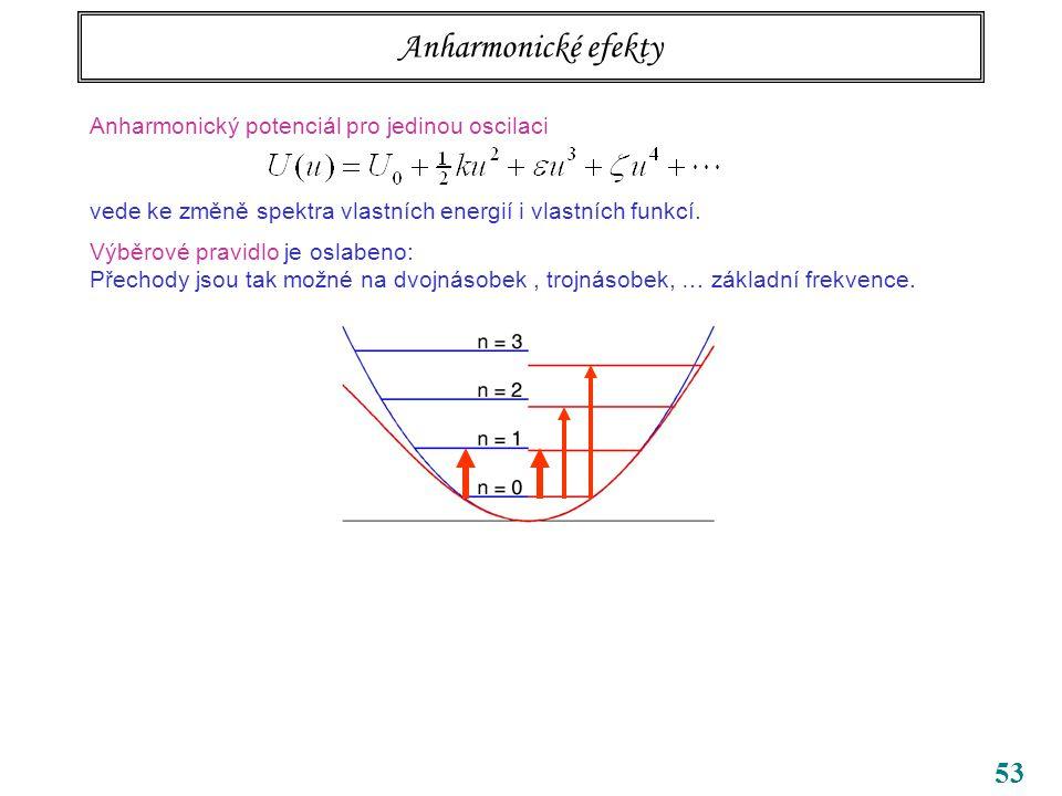 53 Anharmonické efekty Anharmonický potenciál pro jedinou oscilaci vede ke změně spektra vlastních energií i vlastních funkcí.