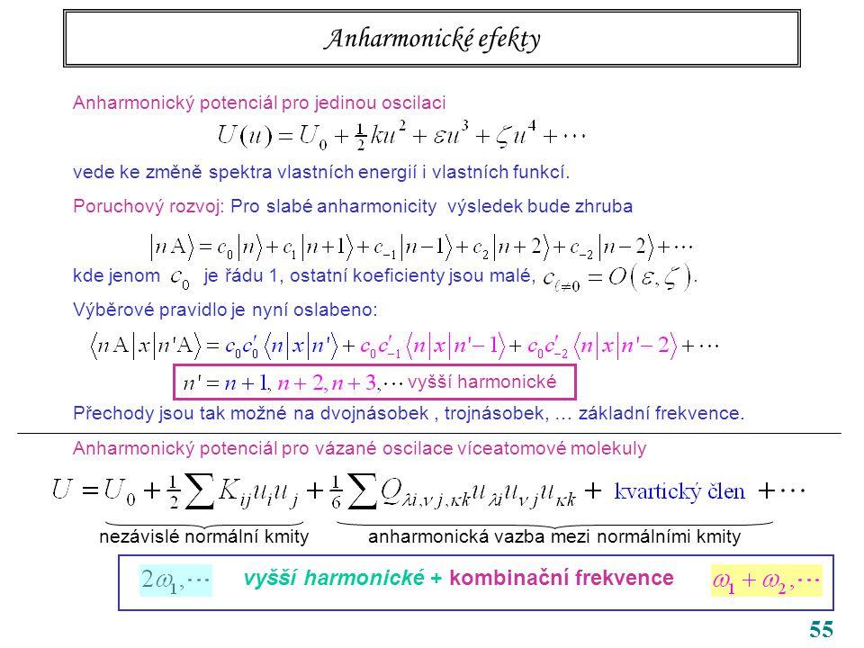 55 Anharmonické efekty Anharmonický potenciál pro jedinou oscilaci vede ke změně spektra vlastních energií i vlastních funkcí.