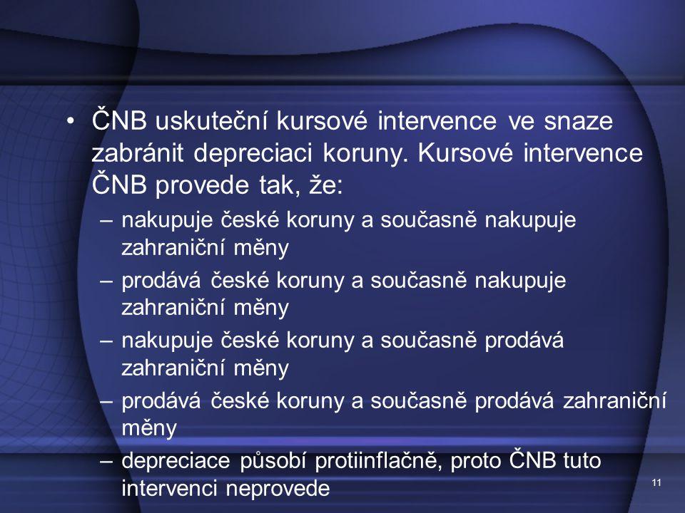11 ČNB uskuteční kursové intervence ve snaze zabránit depreciaci koruny. Kursové intervence ČNB provede tak, že: –nakupuje české koruny a současně nak
