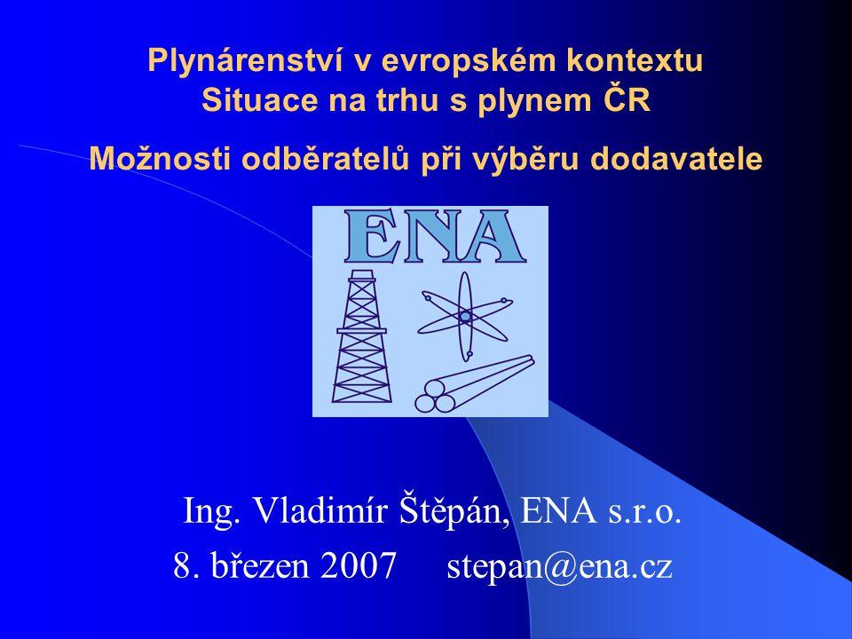 Plynárenství v evropském kontextu Situace na trhu s plynem ČR Možnosti odběratelů při výběru dodavatele Ing.