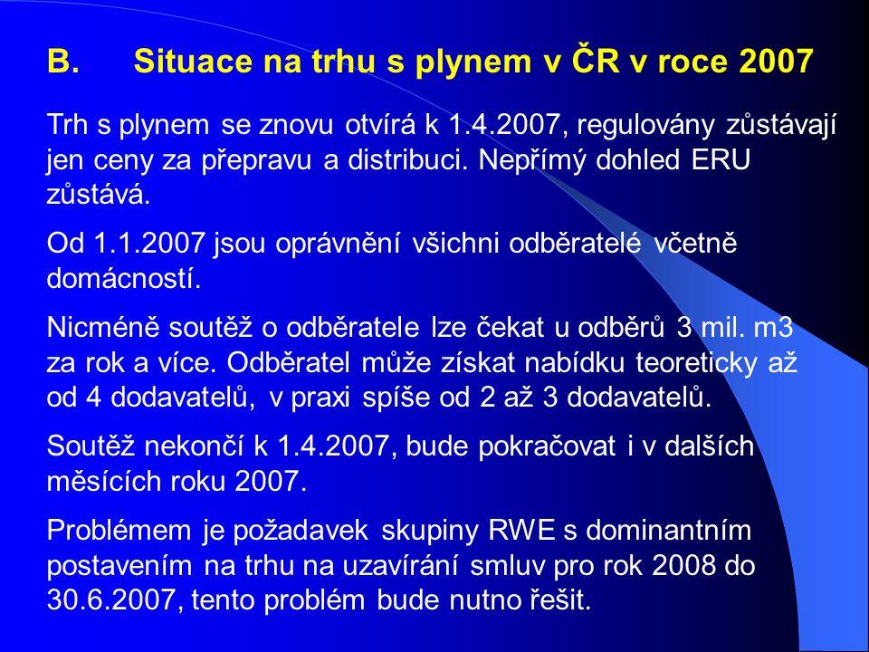 B.Situace na trhu s plynem v ČR v roce 2007 Trh s plynem se znovu otvírá k 1.4.2007, regulovány zůstávají jen ceny za přepravu a distribuci.