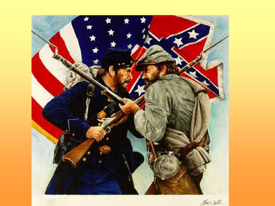 Unie (USA) Konfederace (CSA) 23 států více než dvojnásobek obyvatel 70 % průmyslu 2/3 železnic, loďstvo bankovní kapitál zbrojní sklady výroba zbraní (30:1) 11 států 9 milionů obyvatel (4 miliony otroků) téměř žádný průmysl ekonomika závislá na vývozu bavlny a dovozu všeho vojenská tradice (důstojníci většinou z jihu)