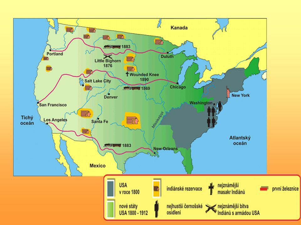 způsob hospodaření farmářů (pšenice a kukuřice) a rančerů (dobytek) v konfliktu s nároky kočovných, lovících Indiánů indiánské kmeny vytlačovány do neúrodných rezervací (i odtud někdy vyháněny) územní expanze na západ = trvalé ohnisko sporů mezi severními a jižními státy – (otrokářství) ekonomické kořeny budoucího konfliktu severu a jihu: zachování či zrušení otroctví