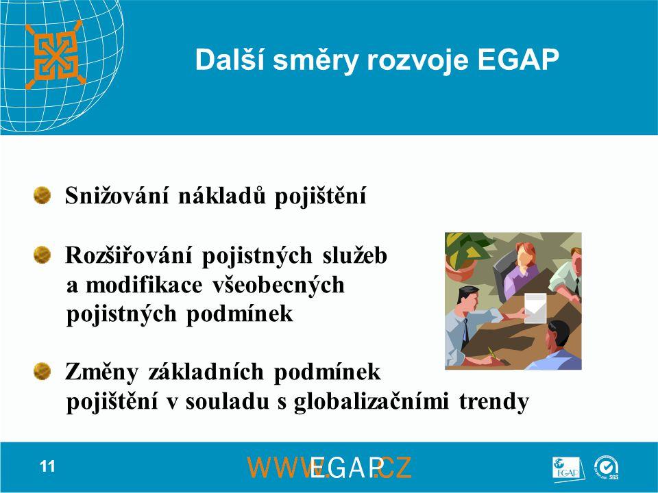 11 Další směry rozvoje EGAP Snižování nákladů pojištění Rozšiřování pojistných služeb a modifikace všeobecných pojistných podmínek Změny základních podmínek pojištění v souladu s globalizačními trendy