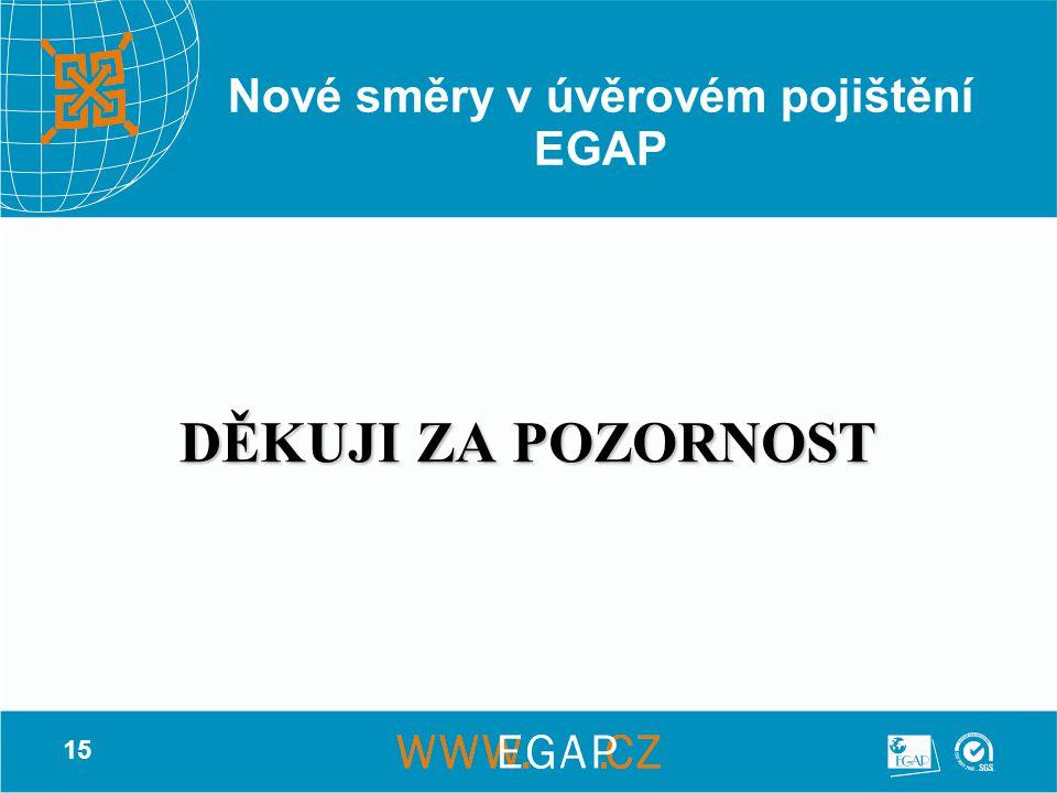 15 Nové směry v úvěrovém pojištění EGAP DĚKUJI ZA POZORNOST