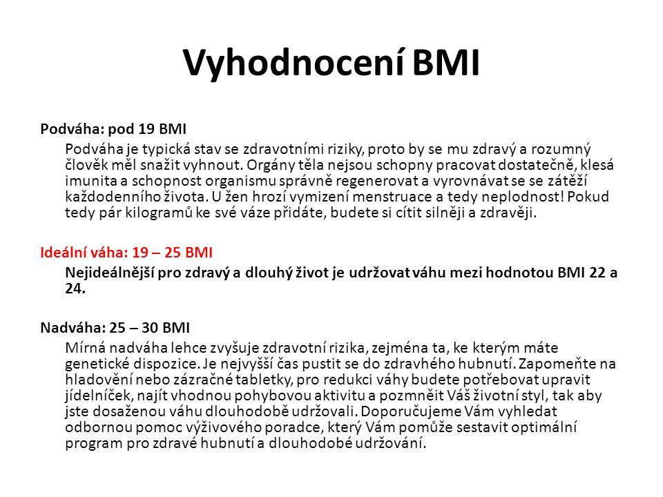 Vyhodnocení BMI Podváha: pod 19 BMI Podváha je typická stav se zdravotními riziky, proto by se mu zdravý a rozumný člověk měl snažit vyhnout. Orgány t