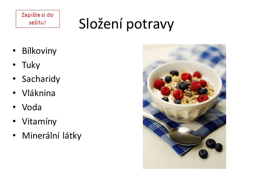 Složení potravy Bílkoviny Tuky Sacharidy Vláknina Voda Vitamíny Minerální látky Zapište si do sešitu!
