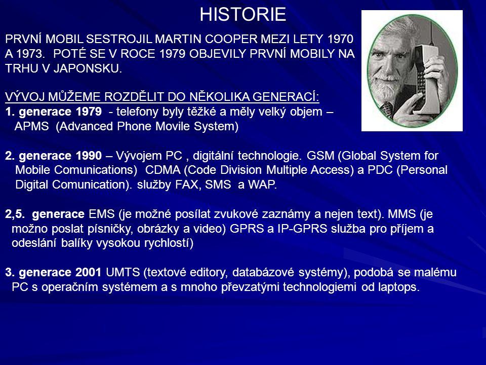 PRVNÍ MOBIL SESTROJIL MARTIN COOPER MEZI LETY 1970 A 1973.
