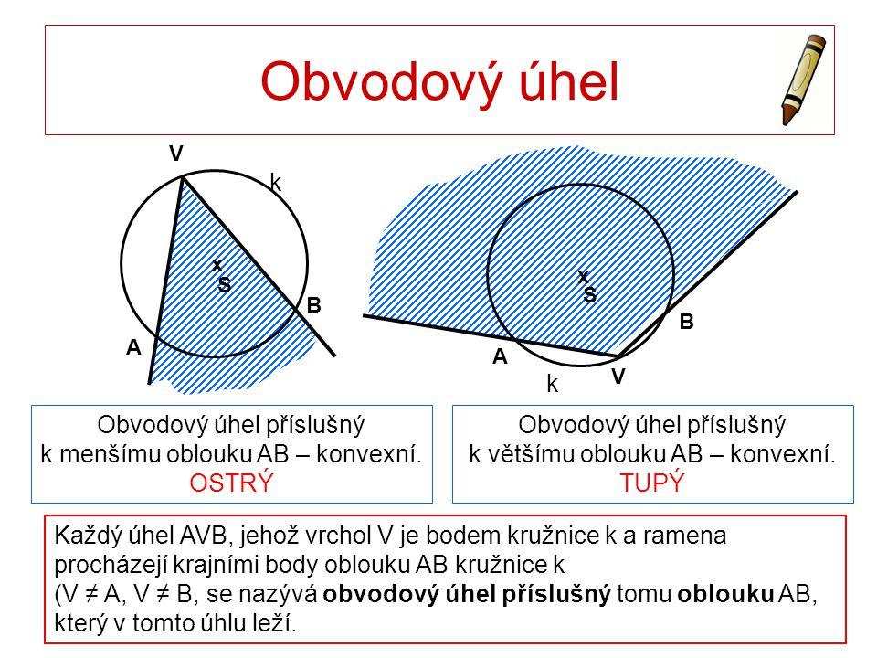 Obvodový úhel Každý úhel AVB, jehož vrchol V je bodem kružnice k a ramena procházejí krajními body oblouku AB kružnice k (V ≠ A, V ≠ B, se nazývá obvo