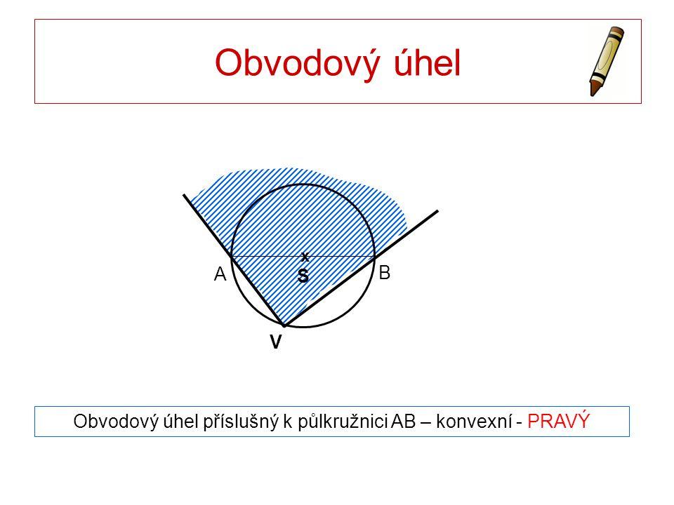Obvodový úhel Obvodový úhel příslušný k půlkružnici AB – konvexní - PRAVÝ A B x S V