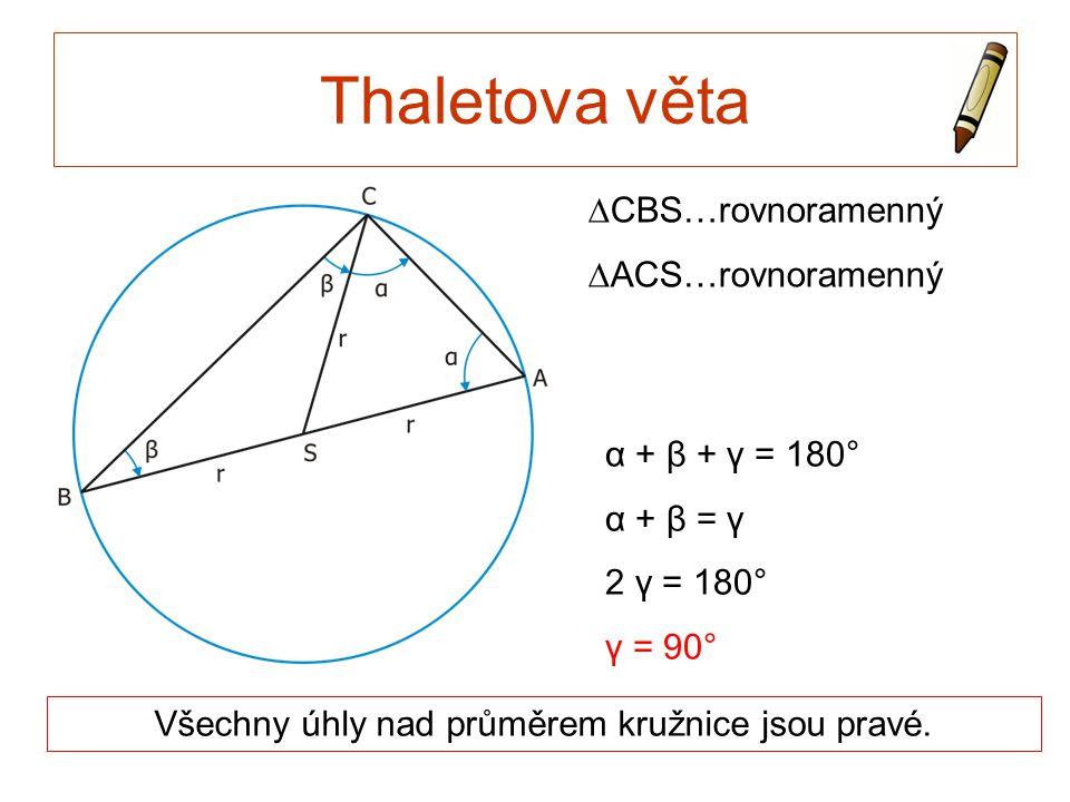Thaletova věta Všechny úhly nad průměrem kružnice jsou pravé. α + β + γ = 180° α + β = γ 2 γ = 180° γ = 90° ∆CBS…rovnoramenný ∆ACS…rovnoramenný