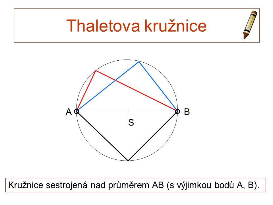 Thaletova kružnice Kružnice sestrojená nad průměrem AB (s výjimkou bodů A, B). S AB