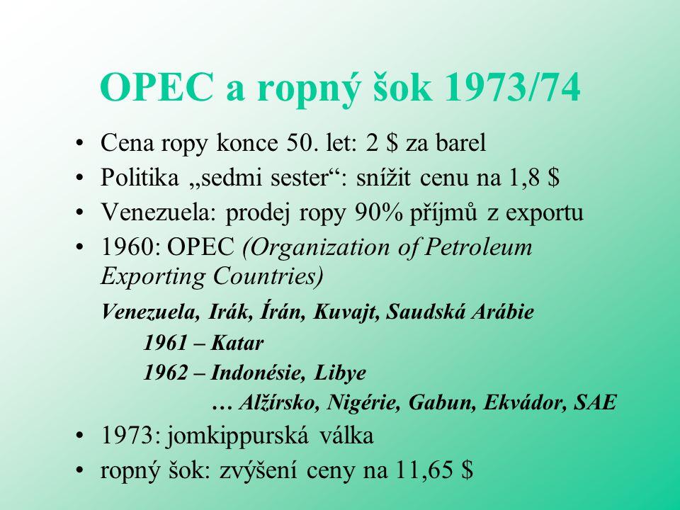 """OPEC a ropný šok 1973/74 Cena ropy konce 50. let: 2 $ za barel Politika """"sedmi sester"""": snížit cenu na 1,8 $ Venezuela: prodej ropy 90% příjmů z expor"""