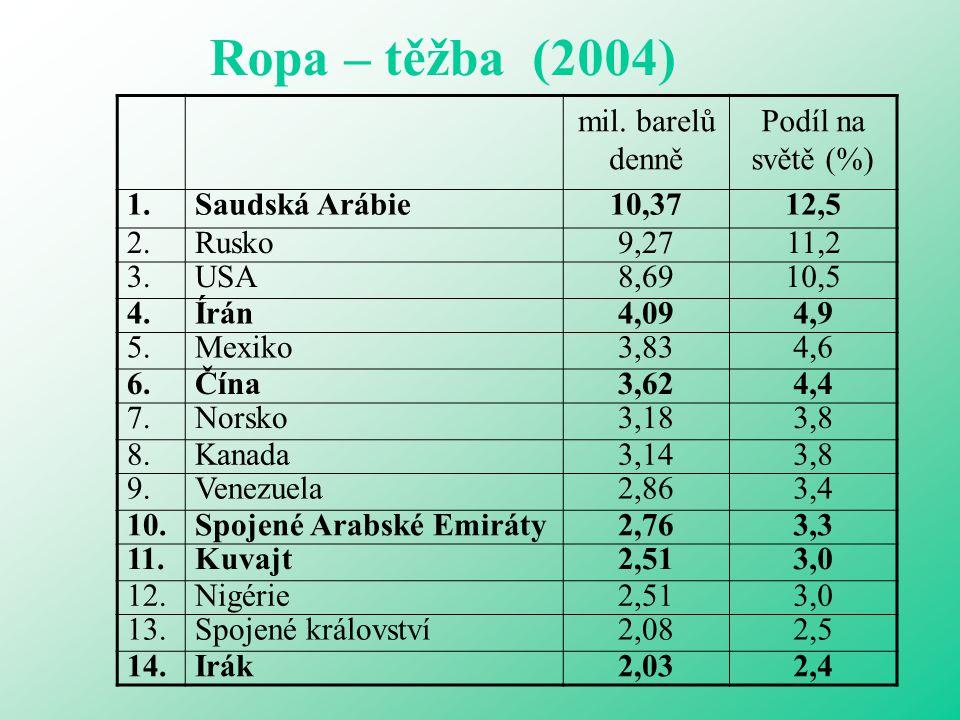 Ropa – těžba (2004) mil. barelů denně Podíl na světě (%) 1.Saudská Arábie10,3712,5 2.Rusko9,2711,2 3.USA8,6910,5 4.Írán4,094,9 5.Mexiko3,834,6 6.Čína3