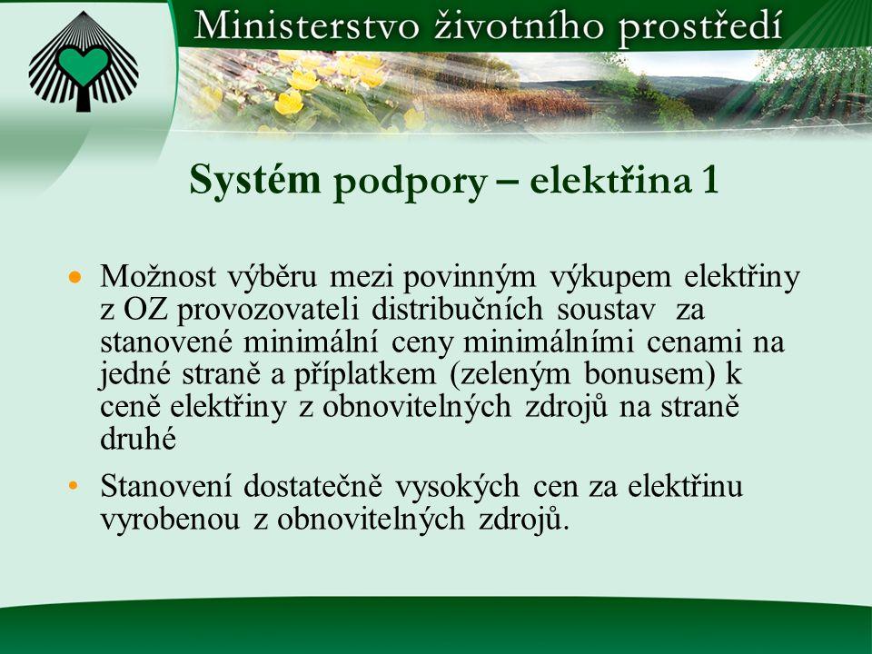 Systém podpory – elektřina 1  Možnost výběru mezi povinným výkupem elektřiny z OZ provozovateli distribučních soustav za stanovené minimální ceny min