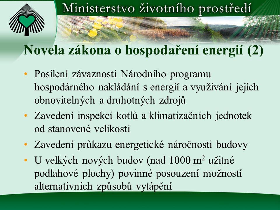 Novela zákona o hospodaření energií (2) Posílení závaznosti Národního programu hospodárného nakládání s energií a využívání jejích obnovitelných a dru