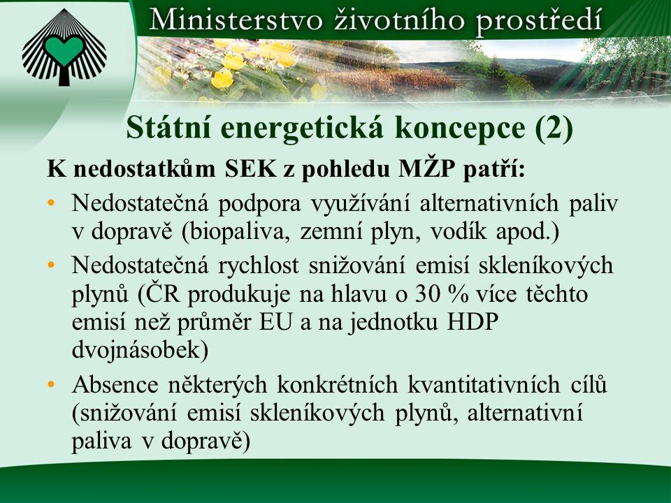 Státní energetická koncepce (2) K nedostatkům SEK z pohledu MŽP patří: Nedostatečná podpora využívání alternativních paliv v dopravě (biopaliva, zemní