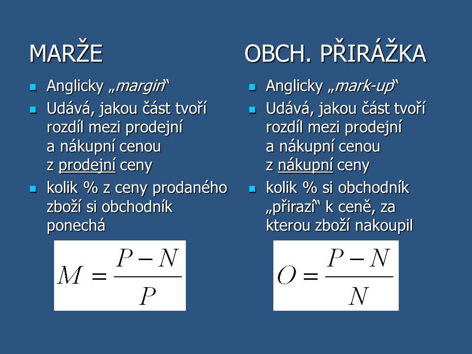 """MARŽE Anglicky """"margin"""" Anglicky """"margin"""" Udává, jakou část tvoří rozdíl mezi prodejní a nákupní cenou z prodejní ceny Udává, jakou část tvoří rozdíl"""