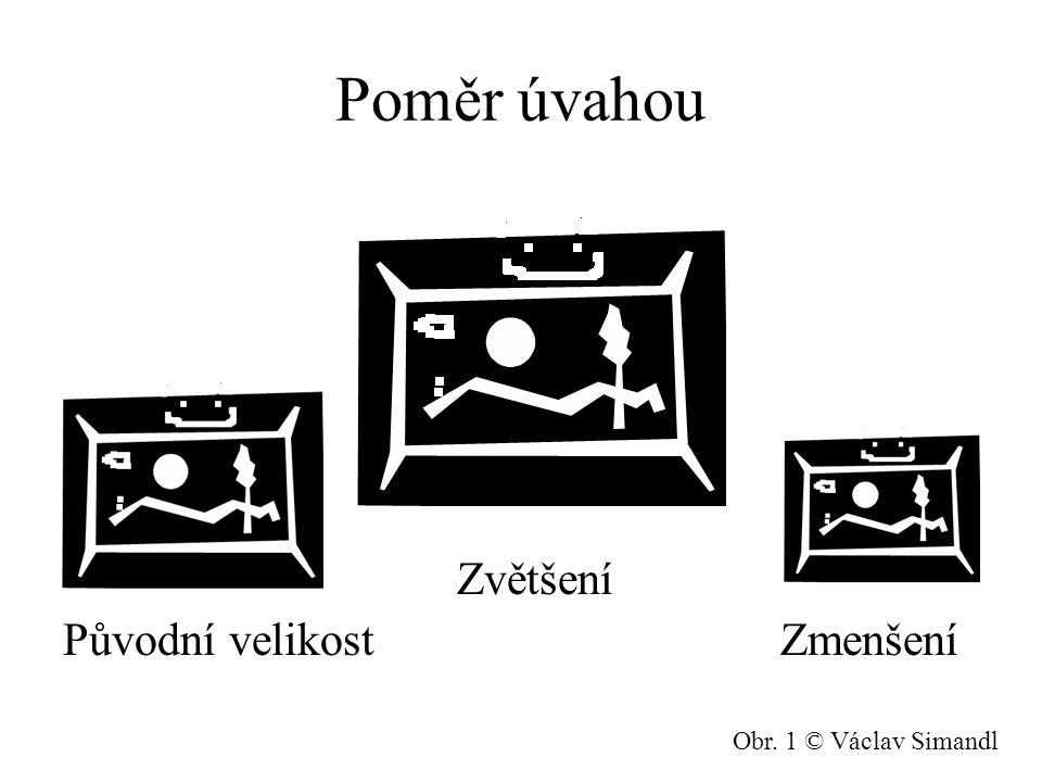 Poměr úvahou Zvětšení Původní velikost Zmenšení Obr. 1 © Václav Simandl