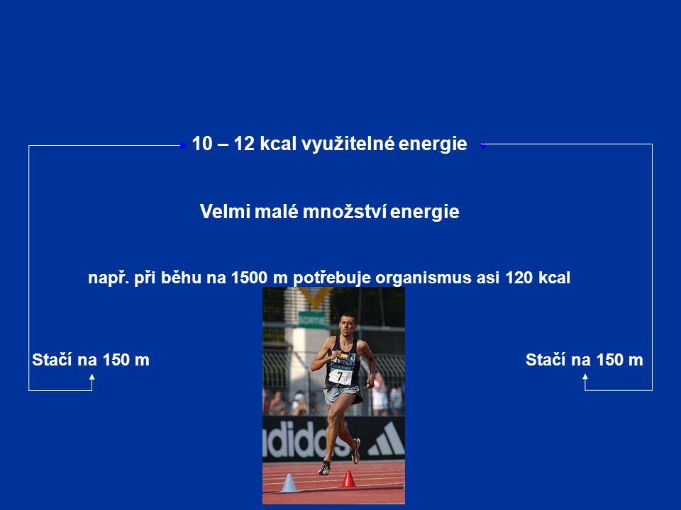10 – 12 kcal využitelné energie Velmi malé množství energie např. při běhu na 1500 m potřebuje organismus asi 120 kcal Stačí na 150 m