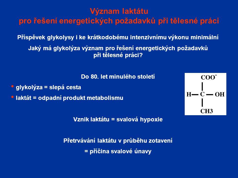 Význam laktátu pro řešení energetických požadavků při tělesné práci Příspěvek glykolysy i ke krátkodobému intenzivnímu výkonu minimální Jaký má glykol