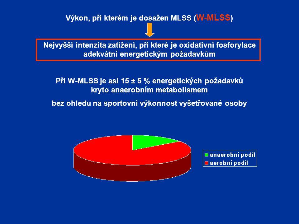 Výkon, při kterém je dosažen MLSS ( W-MLSS ) Nejvyšší intenzita zatížení, při které je oxidativní fosforylace adekvátní energetickým požadavkům Při W-MLSS je asi 15 ± 5 % energetických požadavků kryto anaerobním metabolismem bez ohledu na sportovní výkonnost vyšetřované osoby