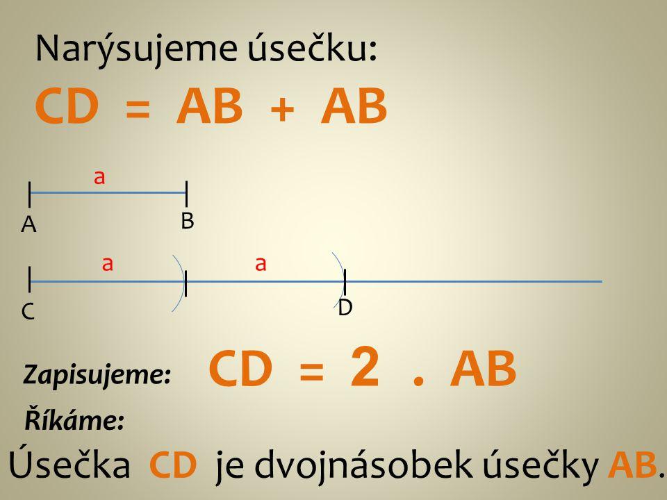 Narýsujeme úsečku: CD = AB + AB A B a D C Úsečka CD je dvojnásobek úsečky AB. Říkáme: Zapisujeme: CD = 2. AB