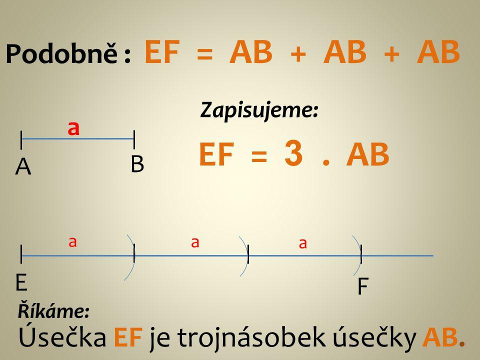 Podobně : EF = AB + AB + AB A B a E F Zapisujeme: EF = 3. AB Říkáme: Úsečka EF je trojnásobek úsečky AB.