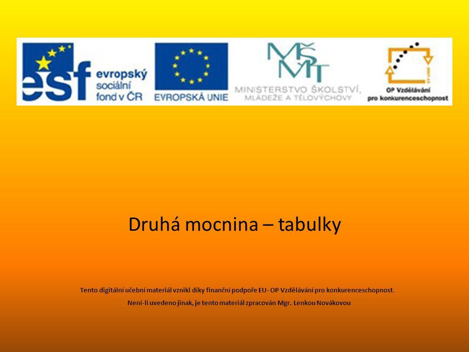 Druhá mocnina – tabulky Tento digitální učební materiál vznikl díky finanční podpoře EU- OP Vzdělávání pro konkurenceschopnost. Není-li uvedeno jinak,